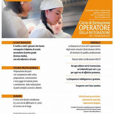"""""""OPERATORE DELLA RISTORAZIONE – Ind. 1: PREPARAZIONE PASTI""""  Corso gratuito"""