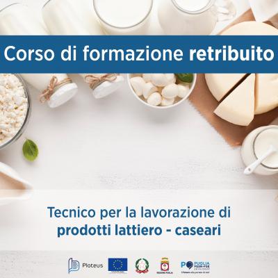Corso gratuito: Tecnico per la lavorazione di prodotti lattiero – caseari